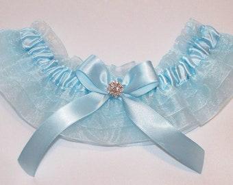 Wedding Garter in Robin's Egg Blue, Blue Garter in Organza Ruffles and Swarovski Crystal Center - The MACKENZIE Garter