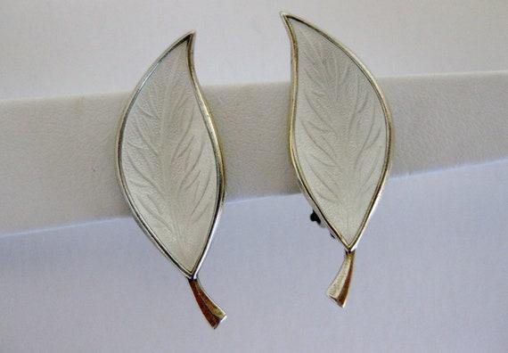 Vintage Mid Century Bjerring Brothers Guilloche Enamel & Sterling Earrings