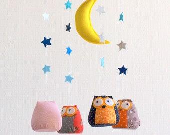 Mobile, Crib mobile, nursery decor, baby shower gifts, nursery mobile, baby mobile, owls mobile, owls in the night mobile 2, machooka