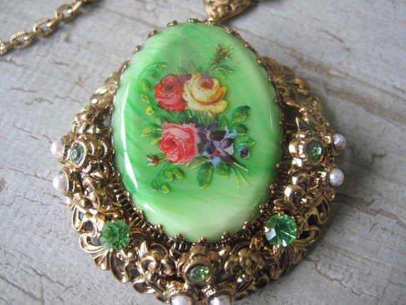 Reserved for Vikki Handpainted Necklace West Germany