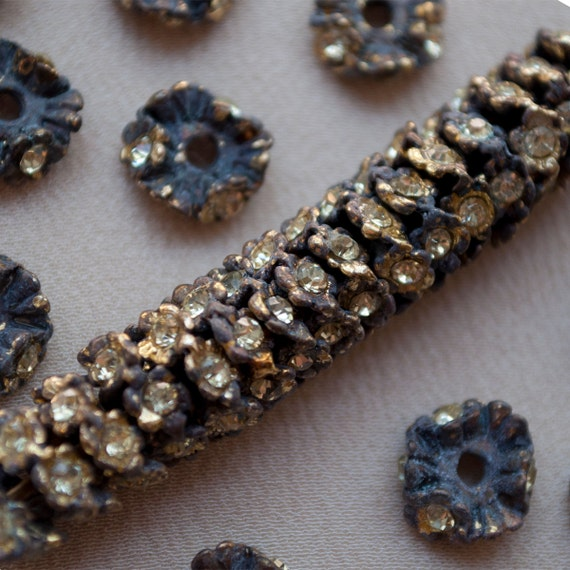 10 mm Classic Pot Metal Rondelle Beads Gold Rhinestone 20 Pieces