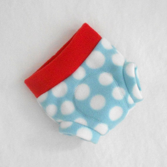 Small Fleece Soaker / Fitted Fleece Diaper Cover,  Ready to Ship, Light Blue Rocket Red White Polka Dot