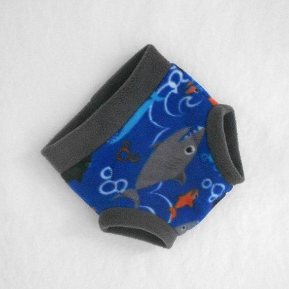 Large Anti-Pill Fleece Soaker / Fleece Cloth Diaper Cover, Underwater Shark, Ready to Ship, Beach Blue Charcoal Grey Gray