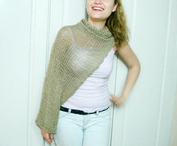 Ecru Tan Knit Bolero Jacket corchet flower choker necklace ot crochet headband