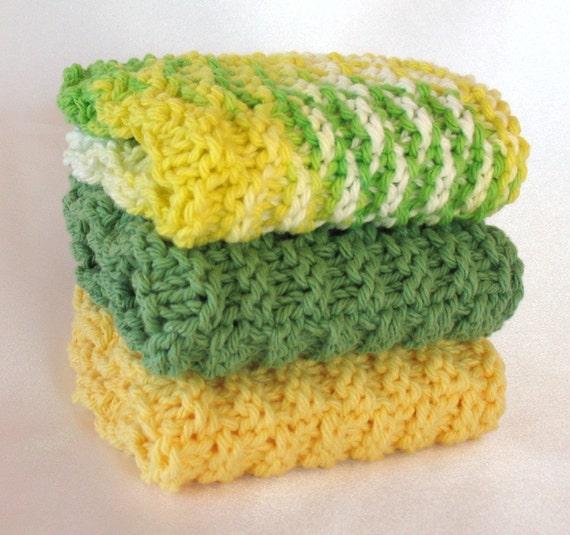 Knit Dishcloth Cotton Knitted Washcloth Lemon Yellow Lime Green Avacado Kitchen Bathroom Bath Gift Set Dish Wash Natural Spa Face Cloth