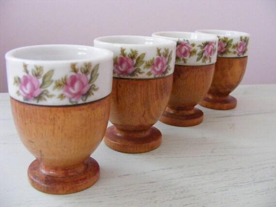 Vintage Egg Cups, Wood and Porcelain, Pink Roses, Set of 4