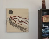 Fiber Art Wall Hanging Beading Handspun Yarn - Landscape from Memory