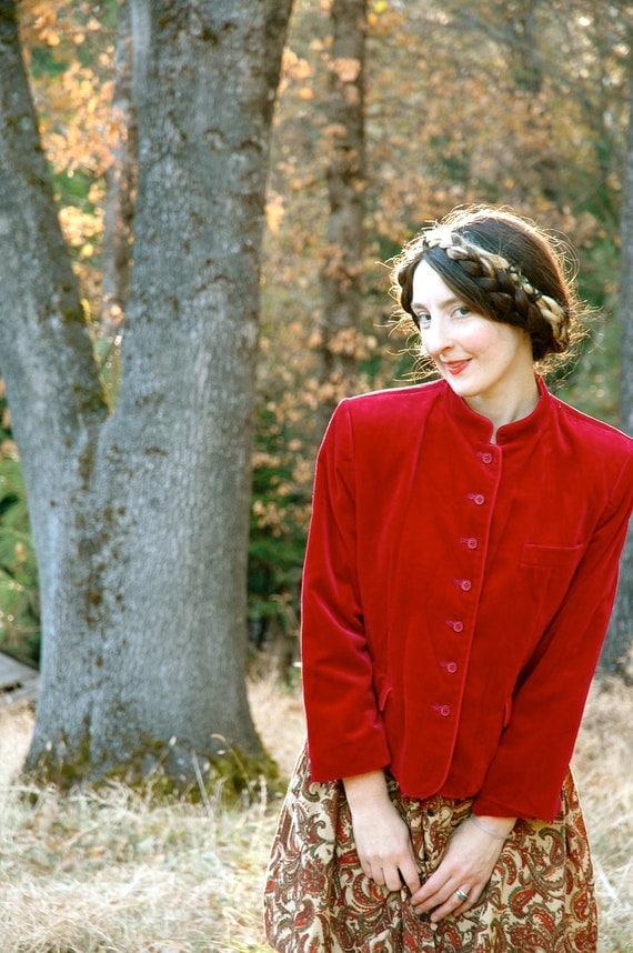 Vintage Velvet Jacket... Ruby Red Jacket... Evan Picone... RUBY (s)