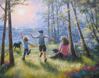 Children Playing Art Print kids summer time wall art, three children, lake paintings, three children, sisters brother, Vickie Wade art