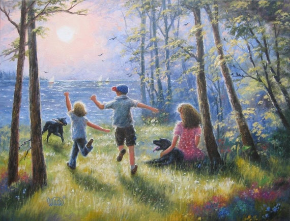 Oil paintings of children playing on the beach www for Oil painting for kids