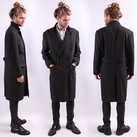 Winter WOOL Coat . Mens Vintage 60s Black Wool Topcoat Elegant Classic ...