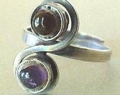Modernist Sterling Amethyst Ring Vintage
