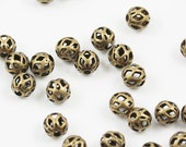 Antiqued gold plated 4mm filigree round beads