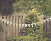 Earthy Pastel Mint Blush Buttercup Fabric Bunting Pennant Garland Decoration 11 FT / Vintage Circus Style