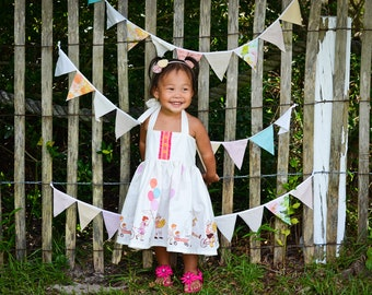 Summer Bunting, Fabric Bunting Garland, Birthday Bunting Banner, Baby Shower, Floral Garland, Burlap Bunting, First Birthday Banner Girl