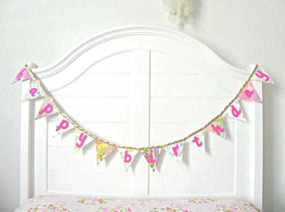Happy Birthday Pink And Gold Vintage Fabric Bunting Banner, Garland, Pennant Decoration Handmade By A Fête Beckons