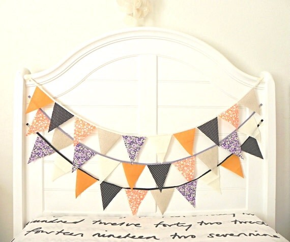 Fall Pumpkin and Plum Fabric Bunting Pennant Garland  Decoration 9 Feet / Vintage Circus Style