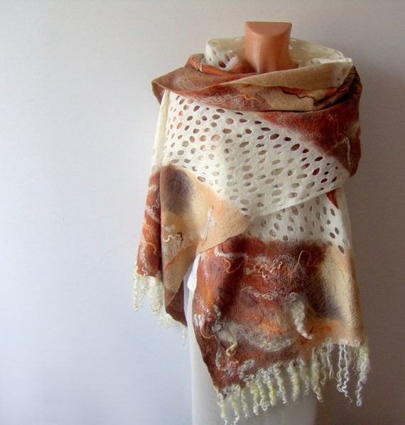 Nuno felted scarf  - white lace mustard brown fox fall