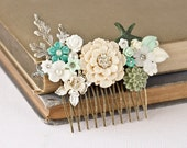 OOAK Wedding Hair Comb Bridal Hair Accessories, SeaGlass Mint Green Beach Wedding, Bridal Hair Accessory, Summer Something Old Vintage Blue