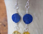 Lapis Lazuli, Amber, Silver Earrings