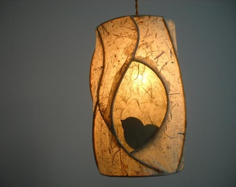 Hanging Pendant Light Birch Tree and Bird - Sculptural Rustic Lighting