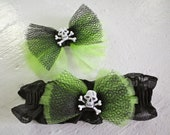 Spooky cute lime green skull and crossbones garter and hair clip Halloween accessories set