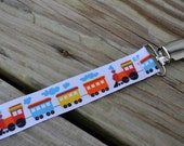 Ribbon Pacifier Clip- Trains