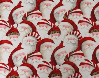 Christmas Fabric, Santa Face Fabric, Leopard Hat Santa Face,  Cotton Fabric,  Quilt Quilting Fabric, Christmas Decor, Home Decor, Christmas