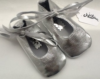 Silver baby ballet shoes