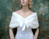 Sale - Off-White faux fur shawl wrap bridal shrug stole FW002-OffWhite -  was 49.99