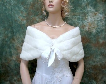 Sale - Off-White faux fur shawl wrap bridal shrug stole FW002-OffWhite -  was 49.99
