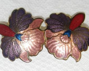 Iris Flower earrings, Metallic Pink and Purple, Vintage 1980s