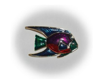 Fish Brooch, Multi Color, Metallic Enamel, Vintage 1970's 1980's