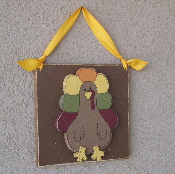 HANGING TURKEY with ribbon for Thanksgiving Day wall door