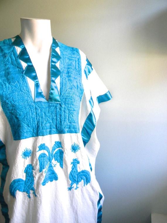 vintage. Mexican 70s Blue Kaftan Dress / Cotton Dress /  One Size Fits All