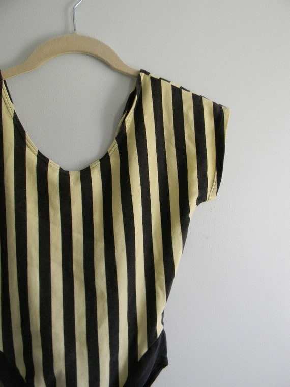 vintage. 80s Striped Bodysuit  / Onsie / Leotard / S M