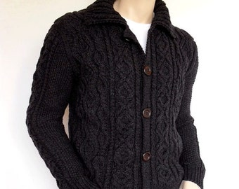 Men Sweater Hand Knit Cable Cardigan Merino wool Aran Knit Jacket