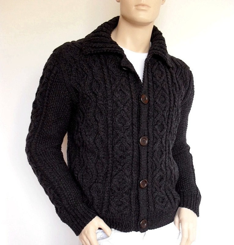 Hand Knitting Designs Sweaters For Men : Men sweater hand knit cable cardigan merino wool aran