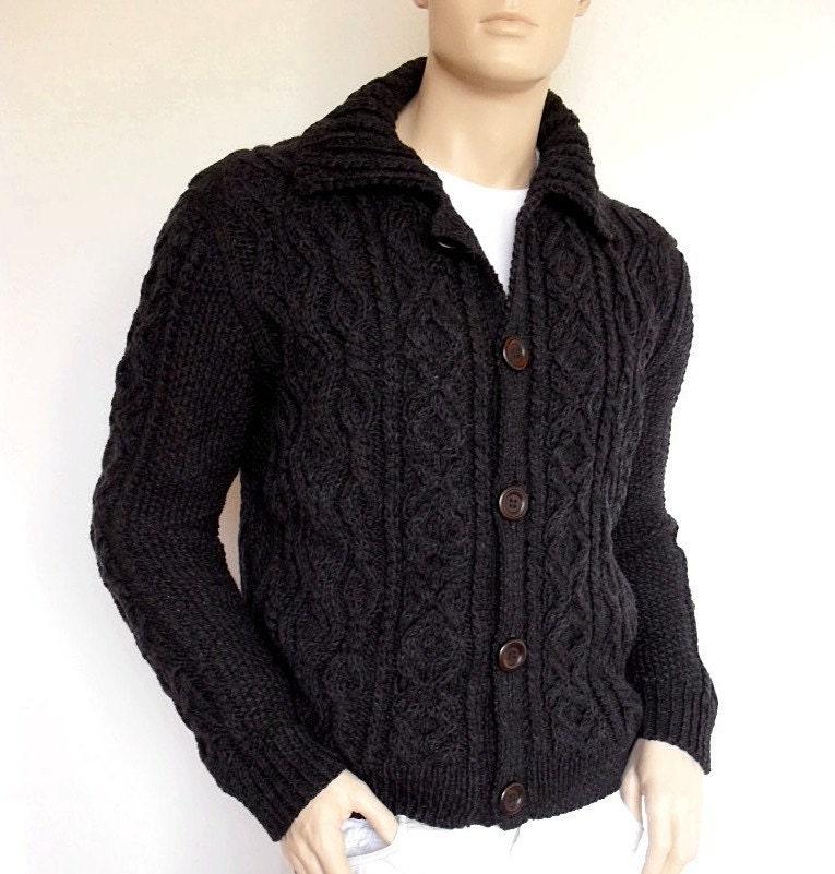 Men Sweater Hand Knit Cable Cardigan Merino wool Aran Knit