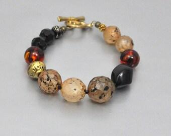 Vintage Bead Bracelet Amber Gold and Black