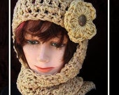 113, CROCHET PATTERN Hat scarf...hat scarf combo, Hood, hoodie, scoodie, women, ladies, teens, accessories, instant download