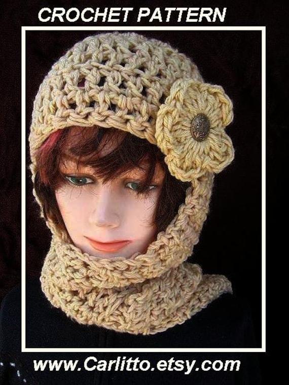 113 CROCHET PATTERN Hat scarf...hat scarf combo Hood by ...