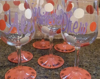 Handpainted and Personalized Wine Glasses, Pilsner glasses, Martini etc glasses for Wedding Party Etc. Etc.