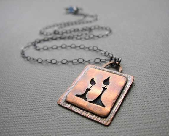 Shabbat Candles Copper Necklace Sterling Silver Chain Reserved