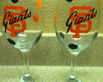 Handmade SF Giants- Wine Glass
