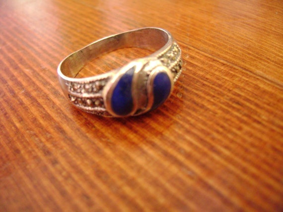 size 9 lapis and marcasite paisley ring