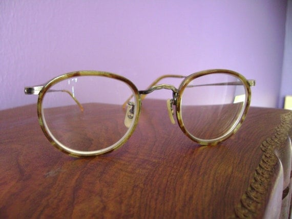 vintage oliver peoples wire and tortoise shell glasses