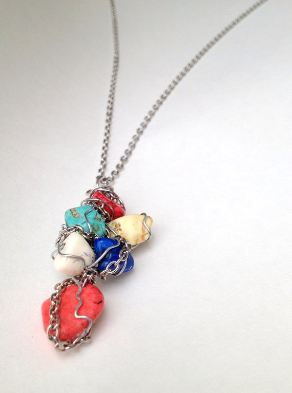 Multi-Color Chain Wrapped Gemstone Necklace