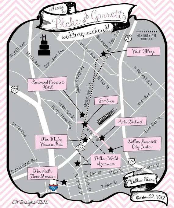 As Seen on STYLE ME PRETTY - Custom Wedding Map Dallas, Tx