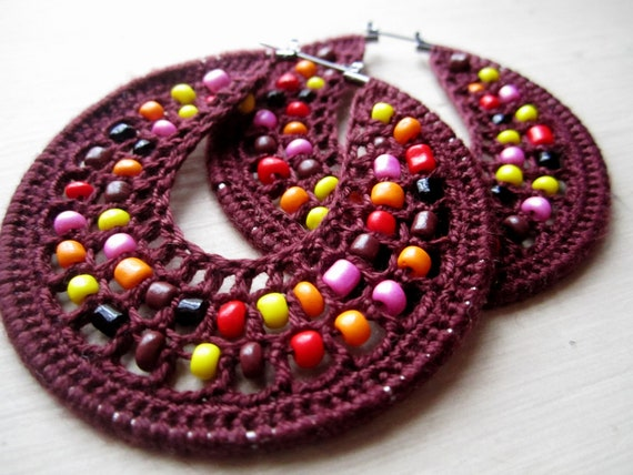 Crocheted hoops in Red Wine and multicolor beads